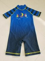New Boys Sun Protection UV 40 Swimsuit Costume Navy Blue Boat 2-3 Years