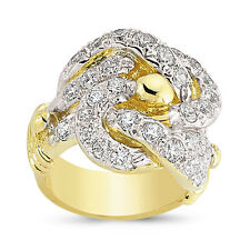 9CT GOLD SOLID CUBIC ZIRCONIA CZ SHOT DOUBLE KNOT KEEPER RING BAND GIFT BOX