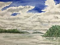 """On a Cloudy Day"" Original hand painted watercolor painting 7x10 inch landscape"