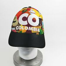 COLOMBIA Ball Cap Black w/ Multicolors Snapback Adjuster Open Weave Sides & Back