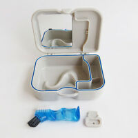 Denture Storage Box Case With Mirror and Clean Brush Dental Appliance for Aged