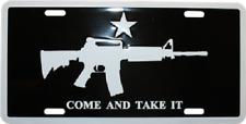 "Come and Take it M4 Machine Gun Tag 6""x12"" Aluminum License Plate (Black)"