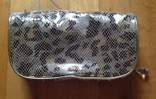 Cache Metallic Coin Purse  Make up Bag Faux Snake Skin Gold Silver Brown 8 X 4.5