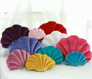 Sea Shell Stuffed Pillow Velvet Sofa Cushion Fairy Princess Home Luxury Decor