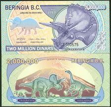 COOL BERINGIA B. C. 2,000,000 DINARS TRICERATOPS DINOSAUR FANTASY NOTE - UNC!
