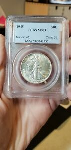 1945 P Walking Liberty Half Dollar PCGS MS63 Blast White Luster (Slab480)