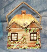 Price Kensington Vintage Rustic Pottery Cottage Biscuit Barrel w/ Wicker Handle