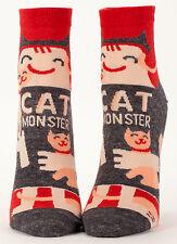 Cat Monster Ankle Socks NEW Women's Sock Size 9-11 CAT LADY BLUE Q
