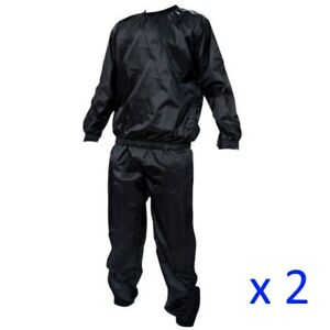 Pack of 2 Heavy Duty Sauna Sweat Suits Exercise Gym Anti-Rip Fitness Weight Loss