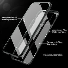 Built-in Screen Protector Tempered Glass Magnet Adsorption Metal Case For iPhone