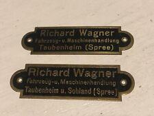 2 x kleines SCHILD RICHARD WAGNER TAUBENHEIM SOHLAND FAHRZEUGHANDLUNG, UM 1930