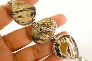 Wood Agate 3-Stone 925 Sterling Silver Link Toggle Bracelet