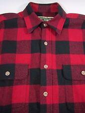 Field & Stream Lumberjack Shirt Heavy Flannel Buffalo Plaid Black Red Mens MED