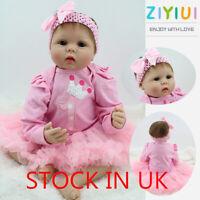 "UK Ship 22"" Reborn Doll Lifelike Baby Realistic Silicone Vinyl Doll Kids Gift"