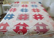 Vintage Early Primitive Monkey Wrench Quilt Hand Quilted 70 x 84 Feedsack