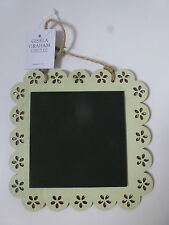 Gisela Graham Pastel Square Frilly Edged Wood Chalk Board 15 x 15cms 3 asst