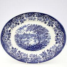 Vintage Blue White Ironstone Country Castles Scene Oval Plate Platter