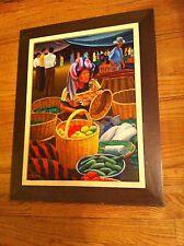 Original Oil Painting Canvas Edgar Chavez Mayan Mexican  woman at  Fruit Market