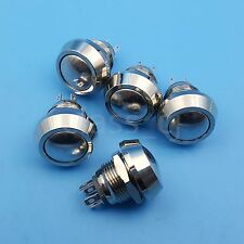 5Pcs Metal 12mm 4Pin Domed Momentary Push Button Switch 1NO 1NC