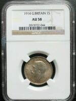 1914 GREAT BRITAIN 1 SHILLING NGC AU 58 KM# 816