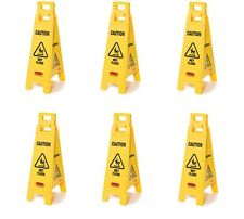"""6x Rubbermaid 4 Sided CAUTION WET FLOOR Warning Sign FG611477YEL 38"""" / 96cm High"""