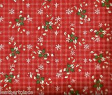 Henry Glass ~ Christmas Plaid Candy Canes Holly ~ 100% Cotton Quilt Fabric BTY