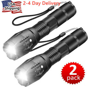 Super-Bright 90000LM XML-T6 LED Tactical Flashlight 5 Modes Zoomable 2-Pack
