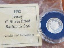 1992 ARGENTO PROOF Sigillo di baliato di jersey £ 1 LB (ca. 0.45 kg) Coin COA