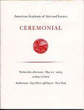 Al Hirschfeld Philip Glass American Academy of Arts & Letters Induction Program