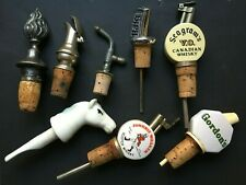 More details for job lot of vintage bottle stoppers pourers wine and spirits x 8 haig gordons etc