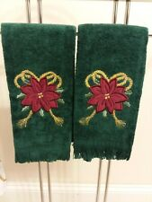Pair Christmas Holiday Embellished Embroidered Poinsettia Hand Towels Green