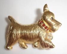 Scottie Terrier Dog Rhinestone Gold Pin Napier Signed