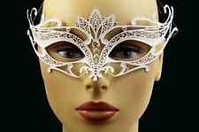 LASER CUT Metal Venetian Masquerade Costume Prom Party Wedding White Fox Mask