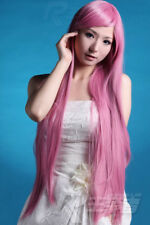 "35""Heat Resistant Vocaloid Luka Pink Long Straight Cosplay Wig 90cm free wig cap"