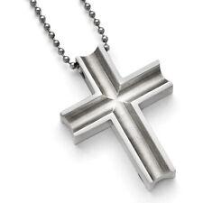 "Chisel Titanium Polished Cross Necklace 24"""