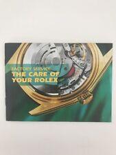 your Rolex� Book, Original Rare Factory Service The care of