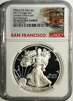 2019 S PROOF SILVER EAGLE LIMITED EDITION SET NGC PF69 FR ULTRA CAMEO TROLLEY