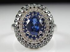 Blue Sapphire White & Black Diamond Ring Designer EFFY 14K White Gold Fine Jewel