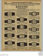 1929 Paper Ad Locust Brand Wrist Watch 15 Jewel