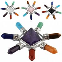 7 Chakra Crystal Point Pyramid Energy Generator Healing Reiki Gems Home Decor