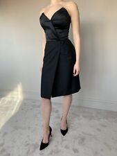 Yves Saint Laurent Dress YSL Wool Mohair Tuxedo Bustier LBD UK8