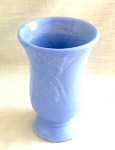 Vintage Art Deco Matte Blue Ceramic/Pottery Vase
