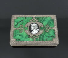 Antique Painted Enamel Medallion & decorated Sterling Silver Compact Box