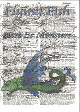 Here Be Monsters Flying Fish Altered Art Print Upcycled Vintage Dictionary Page