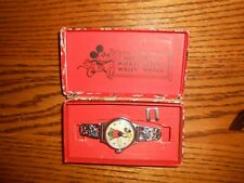 Vintage 1933 Mickey Mouse Wrist Watch With Box Ingersoll  Disney
