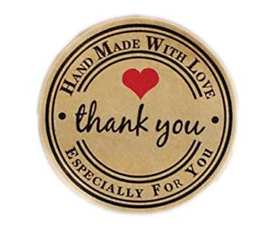 Sticker Handmade With Love Thank You Business Sticker Thank You Kraft Seal 50pcs