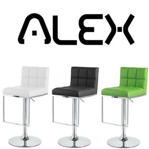 "NEW! MODERN ""LEATHER"" BAR/COUNTER STOOL ADJUSTABLE CHROME BARSTOOL - ALEX"