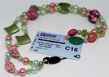 Neck Lanyard - Dazzling Pink and Green Beads with Silver Bead Detail