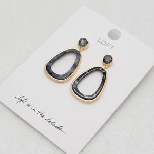 Ann taylor LOFT jewelry gold tone resin oval shapes post drop dangle earrings