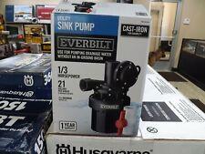 Everbilt 1/3 Hp Utility Sink Pump Effluent Basement Bar Laundry Sinks Plumbing